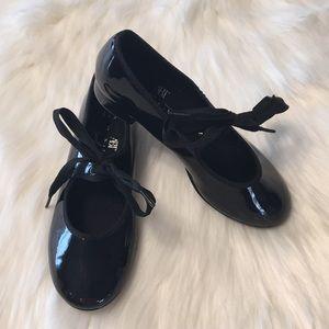 American Ballet Theatre black patent tap shoes
